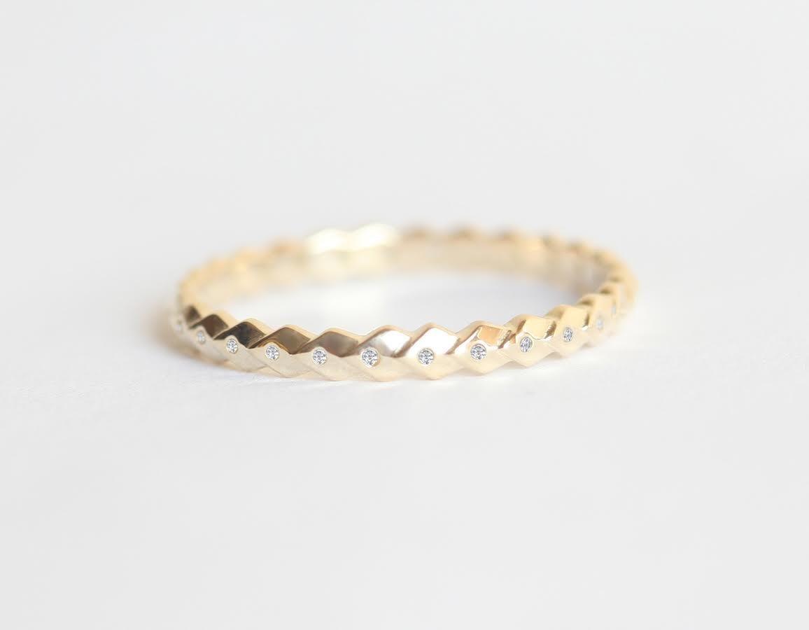 Amazon Com Simple Gold Wedding Ring Thin Diamond Band Leaf Wedding Band Diamond Wedding Band Handmade