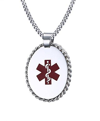 Free Engraving Stainless Steel Medical Alert ID Pendant Necklace 24 inch