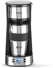 BEEM THERMO 2 GO Filterkoffiezetapparaat voor 1 kopje - Thermo | Inclusief 0,4 l meeneembeker en permanent filter | 24-uurs timer, 750 Watt [Roestvrij staal]