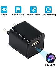 Telecamera Nascosta, UYIKOO 1080P Mini Telecamera Spia USB Caricatore da Parete Adattatore per Videocamera Fotocamera portatile con Rilevazione di Movimento, Fotocamera da 32 GB di Memoria Incorporata