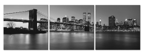 Manhattan Skyline Nyc - MANHATTAN NIGHT/BROOKLYN BRIDGE/NYC SKYLINE WITH TWIN TOWERS Ready to Hang 3 panel set Digital Wall Art Print Mounted on Fiberboard/Better than Stretched Canvas Print/Size: 16x16x1¡±X3Panels