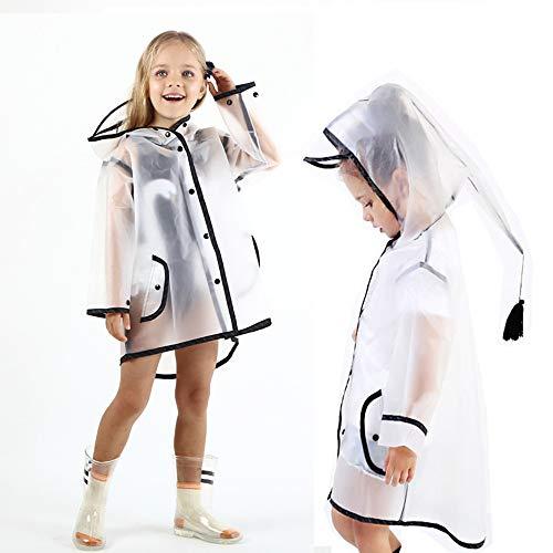 Allopo Kids Transparent Button Raincoat, Boys Girls Hooded Rain Jacket, Lightweight Rain Wear (S) White