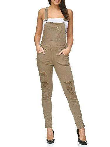 Stretch Dungarecce Strappato Verde Pelle Strappata Jeans D2238 Cachi Donna Sospensori 5AOqdw5