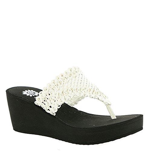 Yellow Box Women's Charm Wedge Sandal White (11) - Flop Sandal Flip Charm