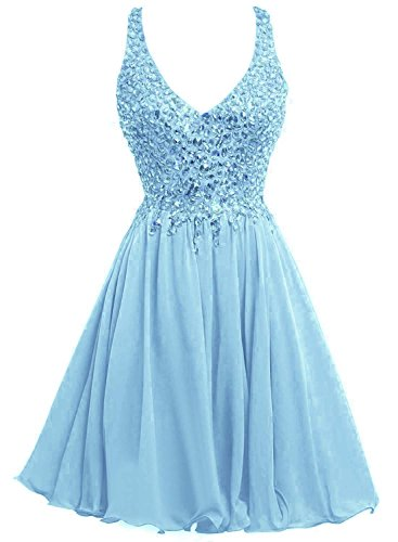 Mini Women's Prom Blue Dresses Sky Homecoming Bridal Bess Crystals Short V Neck H560Y6fFqw