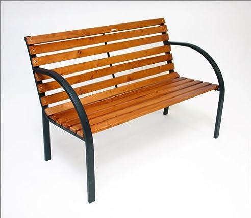Gartenbank holz metall modern  Amazon.de: DEMA Parkbank Modern 122 cm Holz/Metall