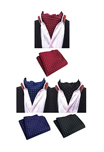 MOHSLEE Mens Formal Polka Dots 3 Pack Cravat Ascot Scarf Tie & Pocket Square - Ascot Set Tie