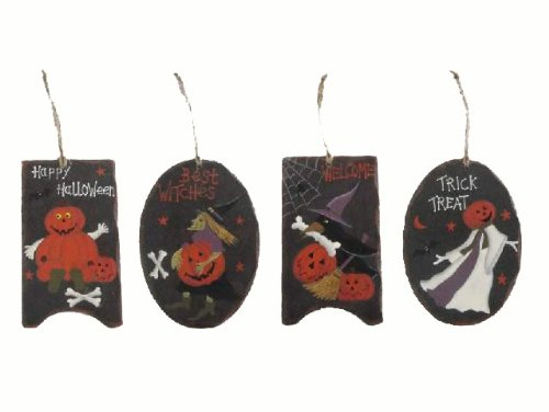 Craft Outlet Hanging Wooden Halloween Plaque, 5-Inch, Set of -