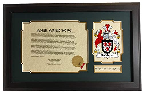 Kirkham - Coat of Arms and Last Name History, 14x22 Inches Matted and Framed