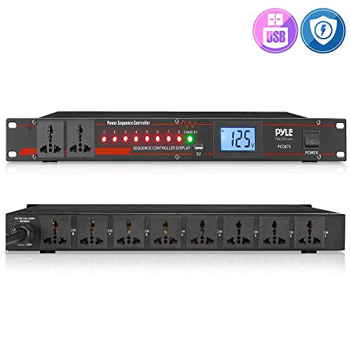 10 Outlet Power Sequencer Conditioner - 13 Amp 2000W Rack Mount Pro Audio Digital Power Supply Controller Regulator w/Voltage Readout, Surge Protector, for Home Theater Stage/Studio Use - Pyle PCO875
