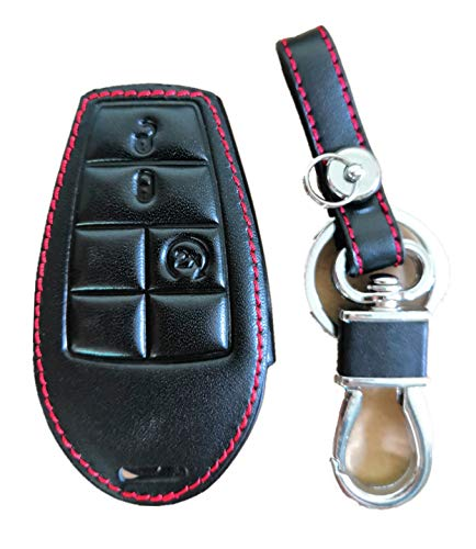 KAWIHEN Keyless Entry Key Fob Leather Cover For Chrysler 300 T&C Dodge Challenger Durango Grand Caravan Journey Ram Truck 1500-3500 Keyless Entry Key Fob Case M3N5WY783X IYZ-C01C GQ4-53T 267F-5WY783X ()