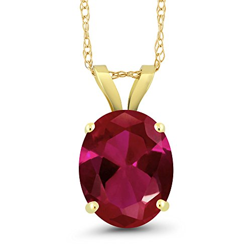 2.50 Ct Oval Red Created Ruby 14K Yellow Gold Pendant With Chain -