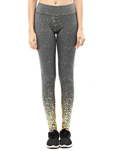 unilane High Waist Print Leggings Hot Stamping Gold Glitter Workout Trousers Athletic Fitness Sports Pants