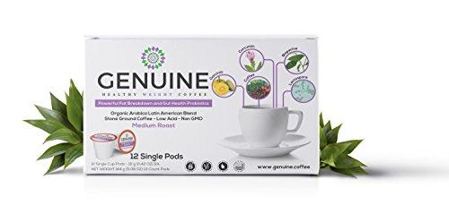 GENUINE HEALTHY WEIGHT Coffee for Powerful Fat Breakdown; Gut Health; Organic Non-GMO Arabica Latin American Blend Stone-Ground Coffee, Medium Roast, Low Acid, Probiotics Infused (12 Single Cup Pods)