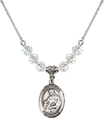 Women Necklaces Bonyak Jewelry 18 Inch Rhodium Plated Necklace w/ 4mm Sterling Silver Beads and Scapular Charm