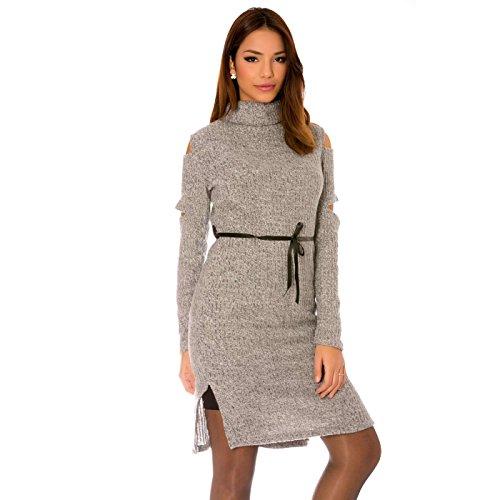 Miss Wear Line - Robe grise col roulé ouverte aux épaules et sur les côtés avec lien de