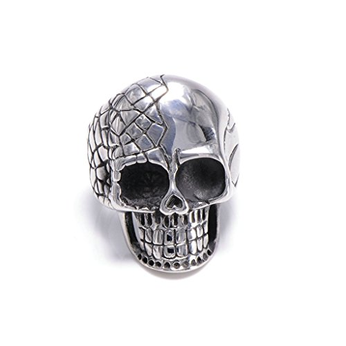 Nose'n Around Wolf Nose (Men's 316L Stainless Steel Vintage Gothic Skull Head Band Ring Silver Size 8)