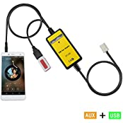Aux interface,Yomikoo Car USB MP3 Interface Adapter 3.5mm AUX In Input for Toyota 6+6Pin 2005-2010 Camry 2003-...