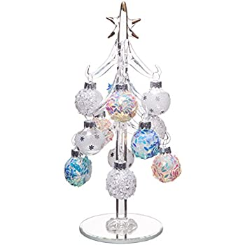 beautiful glass christmas tree small glass table top decoration with removable sphere ornaments mosaic - Christmas Tree Small