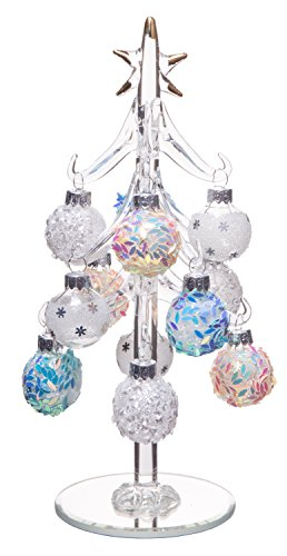 Beautiful Glass Christmas Tree, Small Glass Table Top Decoration with Removable Sphere Ornaments, Mosaic Orbs, Holiday Season Décor, 8-inch (Mosaic Christmas Tree)
