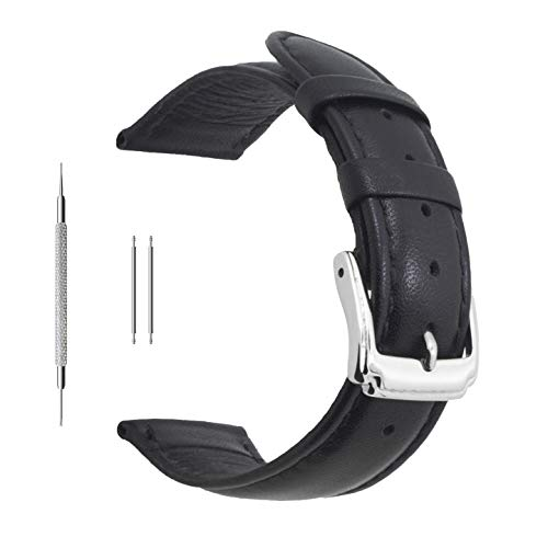 - Berfine 20mm Black Calf Leather Watch Band Replacement,Extra Soft Watch Strap for Men Women