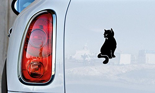 Cat Wild Silhouette Car Vinyl Sticker Decal Bumper Sticker for Auto Cars Trucks Windshield Custom Walls Windows Ipad Macbook Laptop and More (BLACK)