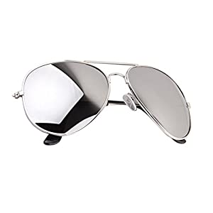 Aviator Sunglasses Full Mirror Lenses Silver Metal Frame UV400 Protection