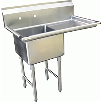 Allstrong 1 Compartment Stainless Steel Sink 24u0026quot; X 24u0026quot;w/ Right  Drainboard NSF