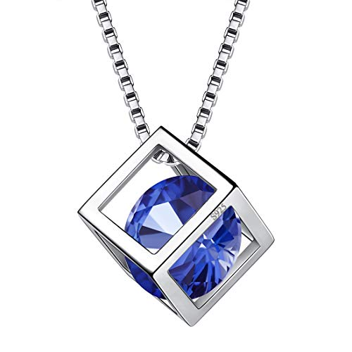 (Aurora Tears September Birthstone Necklaces Women 925 Sterling Silver Crystal 3D Cube Birth Stone Pendant Cubic Zirconia Sep. Birthday Pendant Girls Charm Dating Jewelry DP0028S)