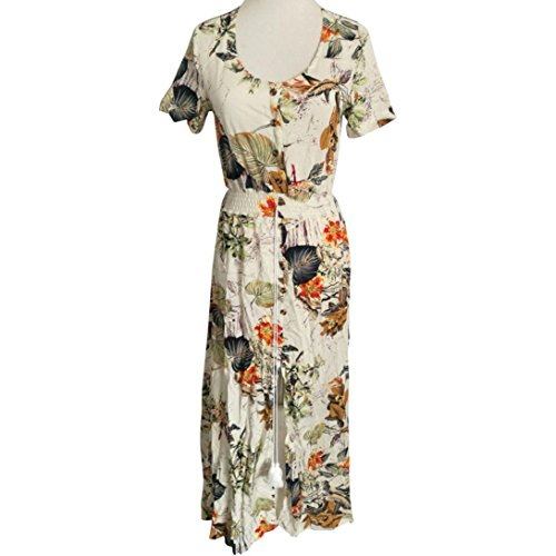 Creazydog White Casual Women Beach Creazy Bohemia Long Print Sleeve Sexy Party Dress Short Floral qrqnZO