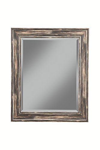 Sandberg Furniture Antique Black Farmhouse Full Length Leaner Mirror - Four (4) inch weathered and antique farmhouse style frame features beveled glass; Product Dimensions 2 x 30 x 36 inches; Item Weight - 35 pounds Can be mounted on the wall either vertically or horizontally; perfect for the living room, bedroom, entryway, hallway, or bathroom D-ring brackets are provided for hanging without the use of a wire - mirrors-bedroom-decor, bedroom-decor, bedroom - 41yhKYt6yAL -