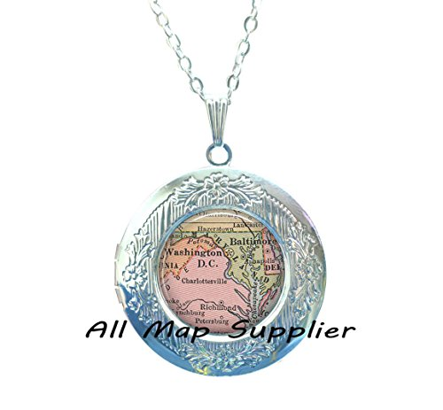 Charming Locket Necklace Maryland map Locket Necklace, Maryland Locket Pendant, Maryland map Locket Pendant, state map jewelry, Washington DC Locket Pendant,A0009