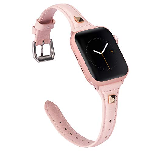 Wearlizer Slim Rose Pink Leather Compatible with Apple Watch Strap 38mm 40mm for iWatch SE Womens Top Grain Leather Thin Band, Cute Rivet Wristband (Silver Clasp) Series 6 5 Series 4 3 2 1 Sport