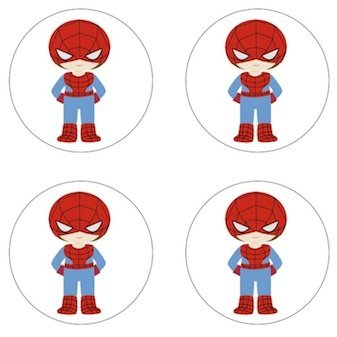 Spiderman Little Superhero Inspired Edible Cupcake Toppers Decoration ()