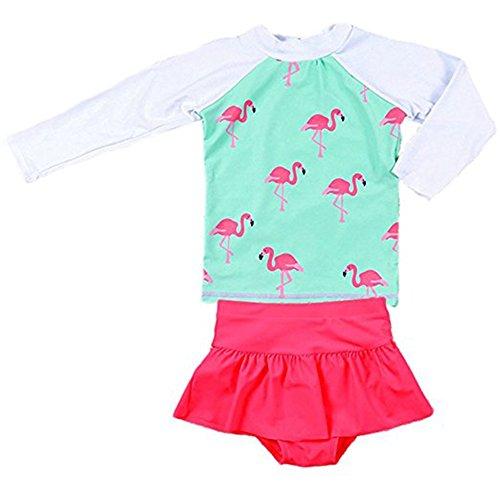 Happy childhood Girls Swimming Suit Children Infant Toddler Girls Long-Sleeved Girl Split Skirt Flamingo Swimwear (Blue, 8-9T/140)
