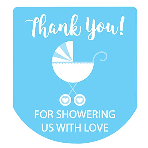90 Hand Sanitizer Labels Thank You Boy Baby Shower Favor Stickers (Blue)