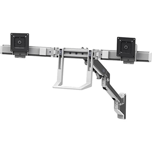 Ergotron 45-479-026 HX Wall Mount Dual Monitor Arm in Polished Aluminum by Ergotron