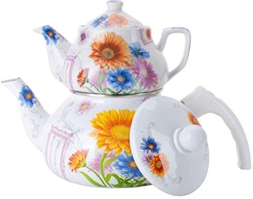 Double Tea Kettle Porcelain Teapot 2-Pc Set 0.852L Ceramic + 2Ltr Enamel Pot Samovar Turkish Style