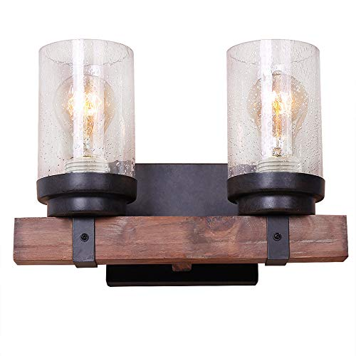 (Anmytek Wall Lamp Wooden Wall Light Wall Sconce Fixture with Bubble Glass Shade (Two Lights))