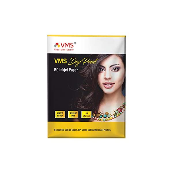 VMS Digi Print Colour RC (Resin Coated) 4R (4 x 6) Photo Paper 102x152mm Matte 240gsm Water Proof Instant Dry For All Inkjet Printers – Set Of 1 (100 Sheets)