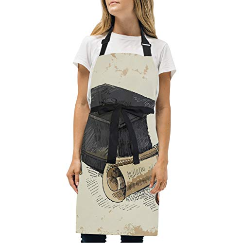 ZZAEO Graduation Cap And Diploma Printed Adjustable Bib Apron with 2 Pockets and Adjustable Neck Strap Home Kitchen Cake Cooking Grilling Gardening Apron for Men Women