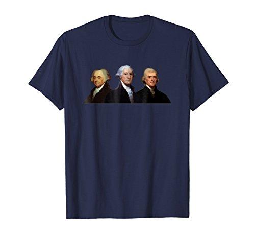 Mens Adams, Washington, and Jefferson - US History T-Shirt 2XL Navy