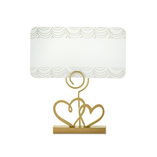 Double Heart Place Card Holder - Kate Aspen 18168GD Place Card Holders, One Size, Gold