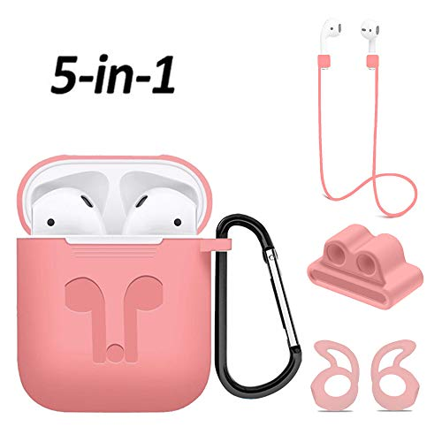 Airpods Case, Mapoo Airpods Accessories Kits, 5 in 1 Protective Silicone Cover and Skin with Ear Hook, Anti-Loss Strap, Watch Band Holder and Keychain for Apple Airpods Charging Case(Pink)