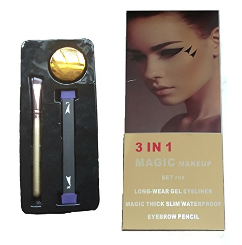Eyeliner Stamp Easy to Makeup Tool Cat Eye Winged Stamps 3pc Set Natural Eye Makeup tool with Angled Brush & Eyeliner Ink by Lemoncy