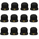 Gelante Plain Blank Flat Brim Adjustable Snapback Baseball Caps Wholesale LOT 12 Pack - 1500-Black