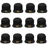 Plain Blank Flat Brim Adjustable Snapback Baseball Caps WHOLESALE LOT 12 Pack - 1500-Black