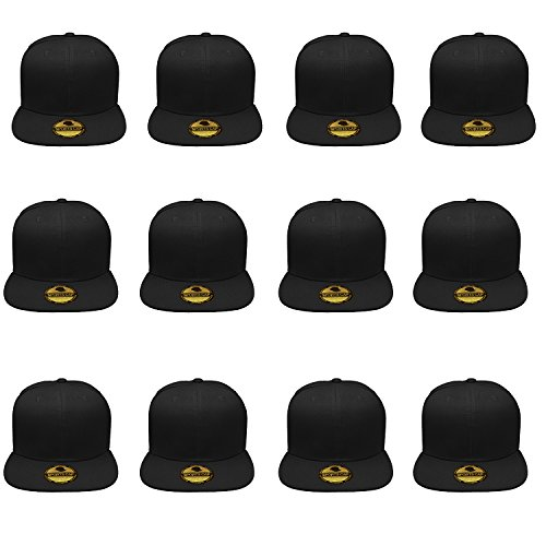 (Gelante Plain Blank Flat Brim Adjustable Snapback Baseball Caps Wholesale LOT 12 Pack -)