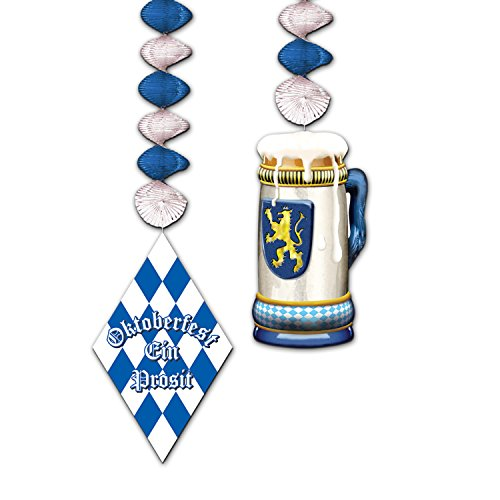 Oktoberfest Danglers - Beistle Club Pack Oktoberfest Assorted Metallic Blue and Silver Danglers, Box of 24