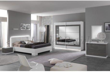 Chambre adulte complète ANCONA laqué gris: Amazon.fr ...